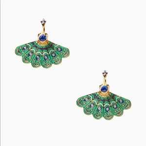 Kate Spade full plume peacock ear jackets earrings